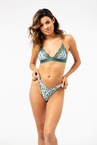 ALL THE FEELS: Love Lace Bralette in Leopard Mallard Green - LOVE STORIES