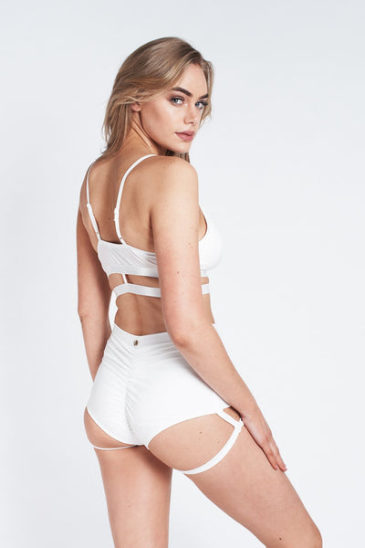 ALL THE FEELS: Lure You High Waisted Bottoms in White - LUNA POLEWEAR LUNALAE