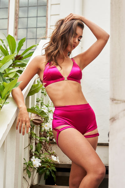 ALL THE FEELS: Lure You High Waisted Garter Shorts in Satin Magenta - LUNA POLEWEAR LUNALAE