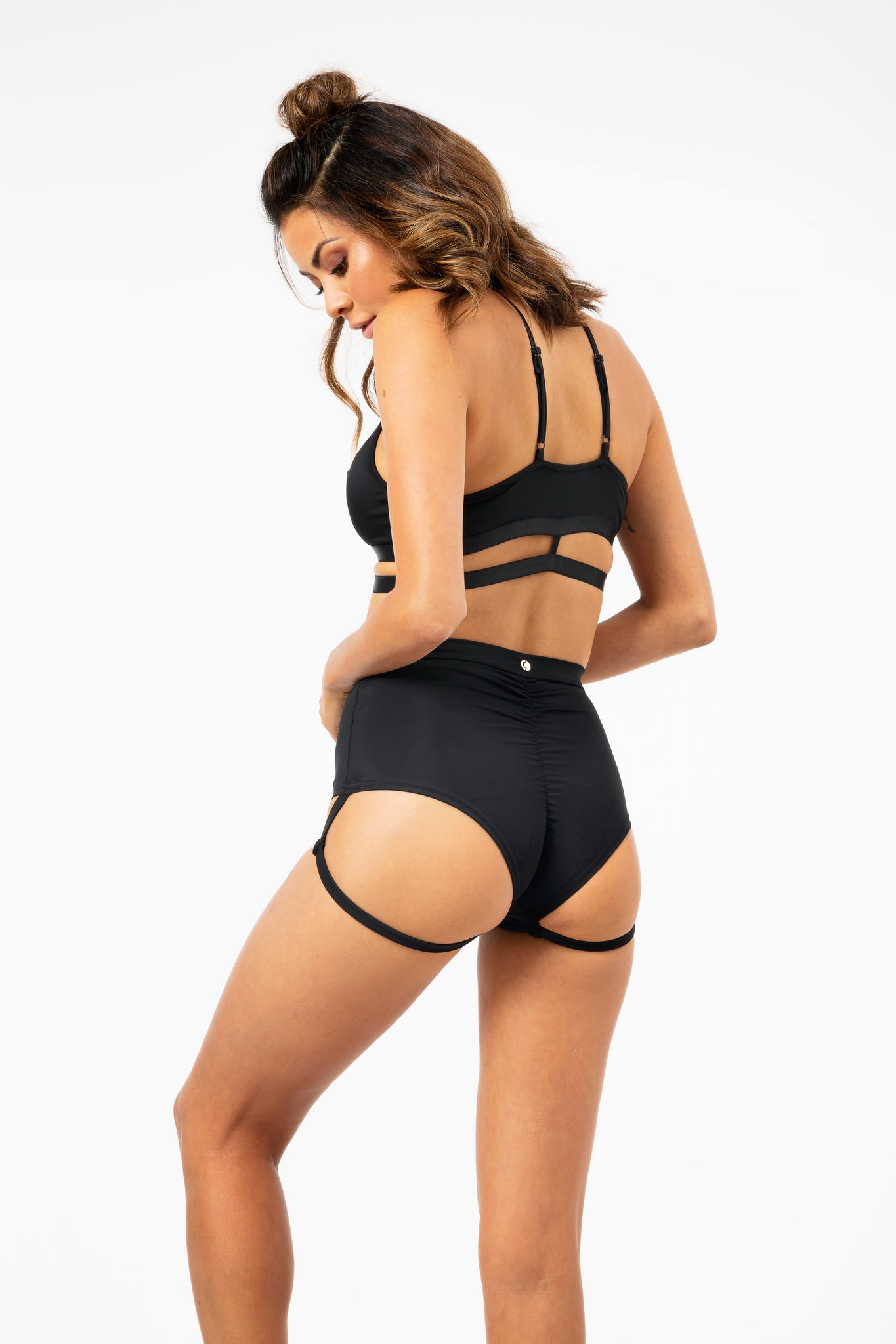 ALL THE FEELS: Lure You High Waisted Garter Shorts in Black - LUNA POLE WEAR