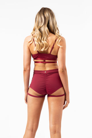 ALL THE FEELS: Lure You High Waisted Garter Shorts in Wine - LUNA POLE WEAR