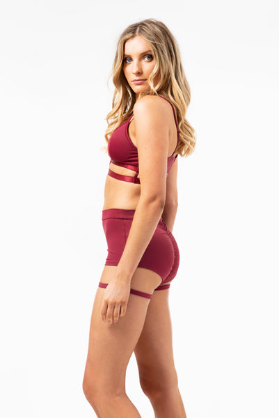 Lure You High Waisted Garter Shorts in Wine