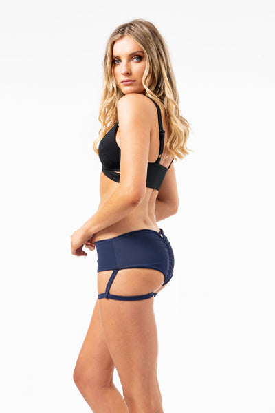 ALL THE FEELS: Lure You Low Waisted Shorts Navy - LUNA POLE WEAR