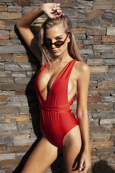 ALL THE FEELS: Lilah Wrap Around Reversible One Piece in Red - GERRY CAN