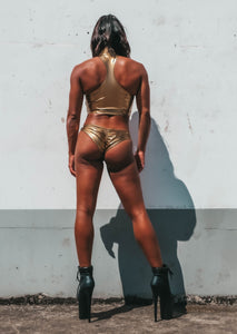 Metal Liquid Scanty Pants in Gold