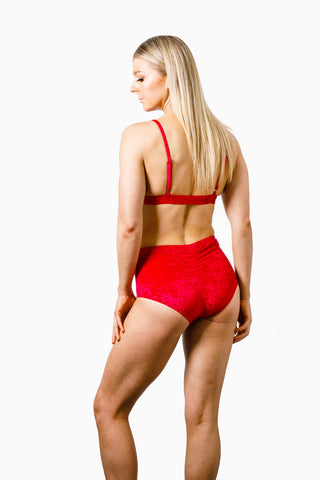 ALL THE FEELS: Eve Velvet Bottoms Red - RAD POLEWEAR