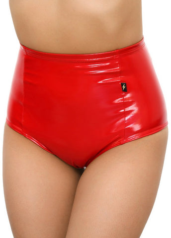 Heroine Liquid High Waisted Hot Pants in Red