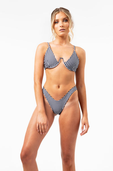 ALL THE FEELS: Roni Bottom in Black Gingham Check - VDM THE LABEL