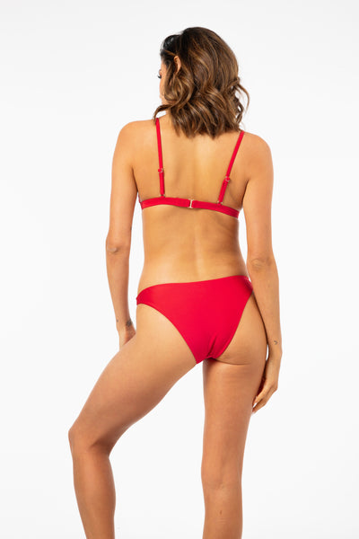 ALL THE FEELS: She Shimmers Bikini Bottom in Red - L'URV