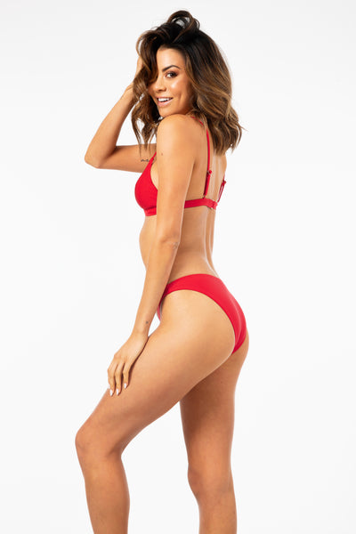 She Shimmers Bikini Bottom in Red FINAL SALE