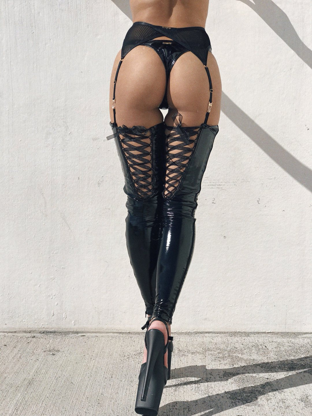 ALL THE FEELS: Sinner Vinyl Lace-up Thigh High in Black - NAUGHTY THOUGHTS