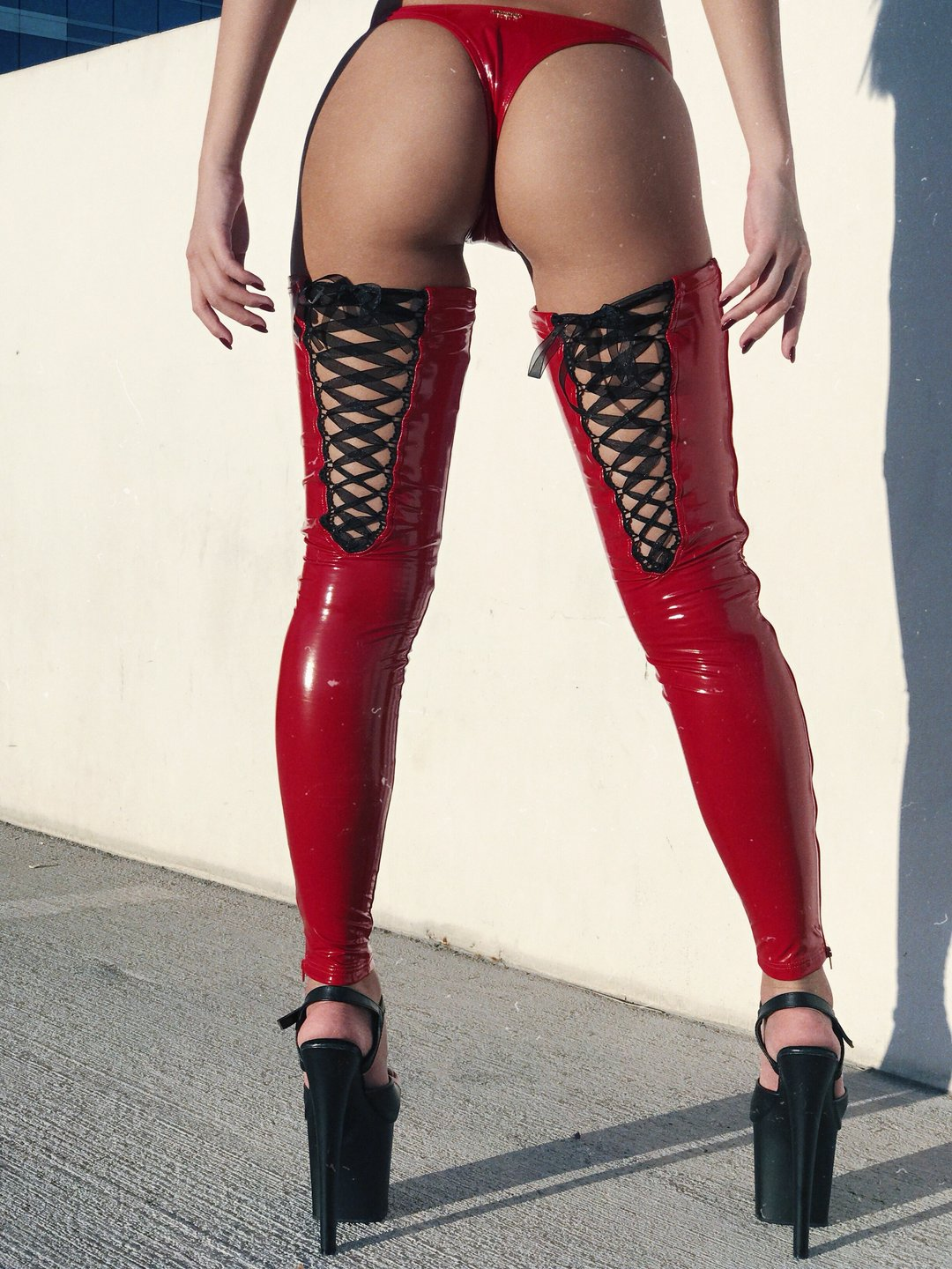 ALL THE FEELS: Sinner Vinyl Lace-up Thigh High in Red - NAUGHTY THOUGHTS