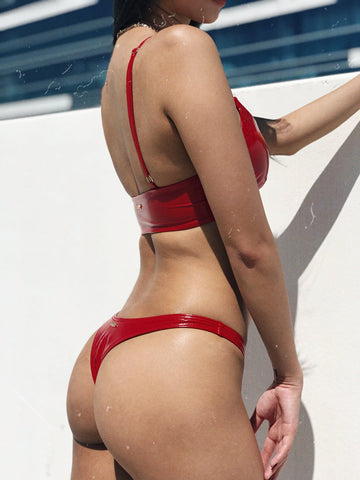ALL THE FEELS: Sinner Vinyl Thong in Red  - NAUGHTY THOUGHTS