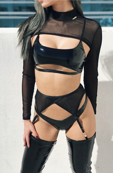 ALL THE FEELS: Sinner Vinyl Underboob Top in Black - NAUGHTY THOUGHTS