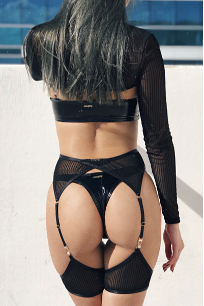 ALL THE FEELS: Sinner Vinyl Thong in Black - NAUGHTY THOUGHTS