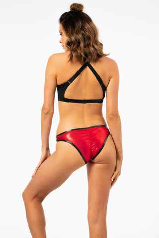 ALL THE FEELS: Skimpy Hot Pants Metallic in Flaming Red - CLEO THE HURRICANE