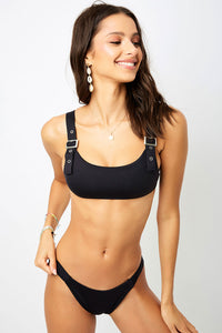 ALL THE FEELS: Stormy Bikini Top Black - FRANKIES BIKINIS