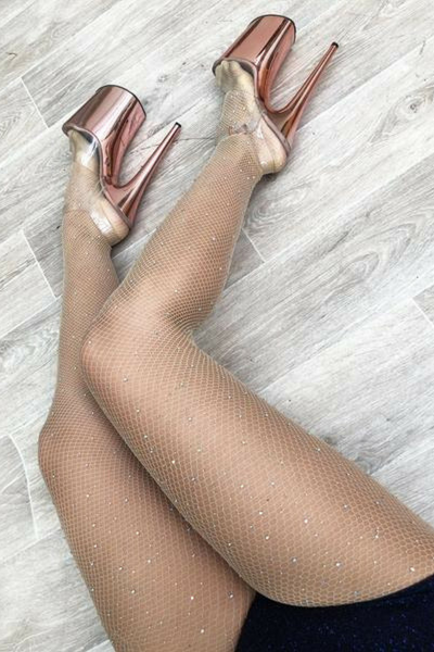 ALL THE FEELS: Nude Fishnet Stockings with Rhinestones - LUNA POLE WEAR