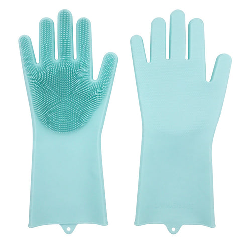 Silicone dishwashing gloves dishwashing brush magic gloves housework cleaning gloves