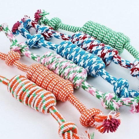 [Random color] Dog pet puppy chewing cotton 8 rope ball knit toy products