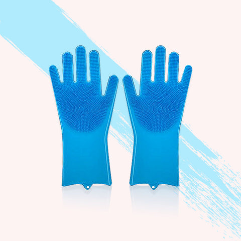【4pcs】goves Silicone Brush Gloves Bathroom Kitchen Cleaning Gloves Car Wash Soft Vibrating Gloves