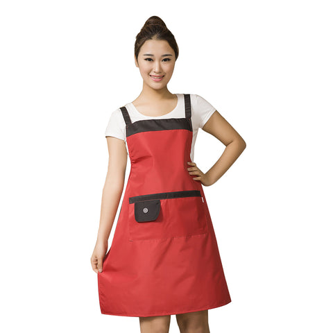 Solid color waterproof and oil-proof kitchen sleeveless home apron waterproof overalls