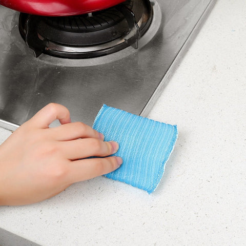 【random color】Kitchen Scrub King Cleaning Cloth Dish Non-stick Oil Dishwashing Cleaning Pot Disposing Sponge Cleansing