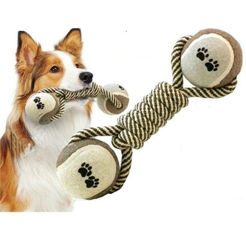Woven Dumbbell Rope Dog Pet Chew Toys Dog Clean Teeth Training Tool