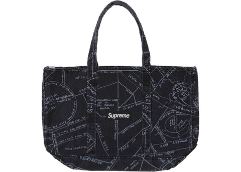 Supreme Gonz Map Denim Tote Washed Black
