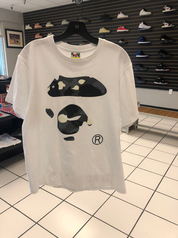 Bape White Shirt Big Ape Head Camo (Used)