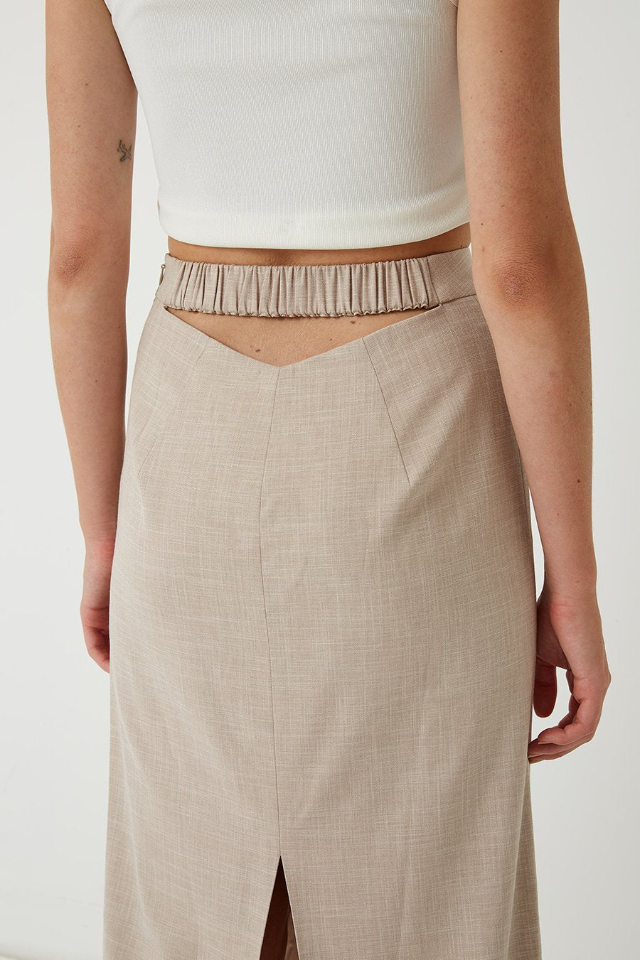 FRIEND OF AUDREY | Quillan Cut-Out Midi Skirt