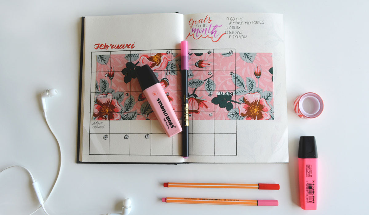 self care daily planner flatlay pink