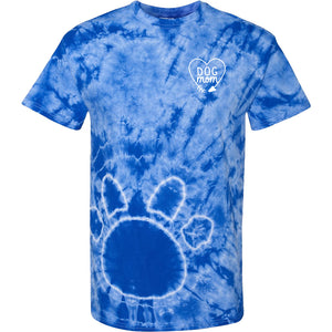 Tie Dye Dog Mom T-Shirt with Paw