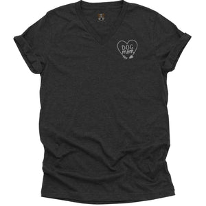 Ladies Dog Mom Heart V-Neck T-Shirt
