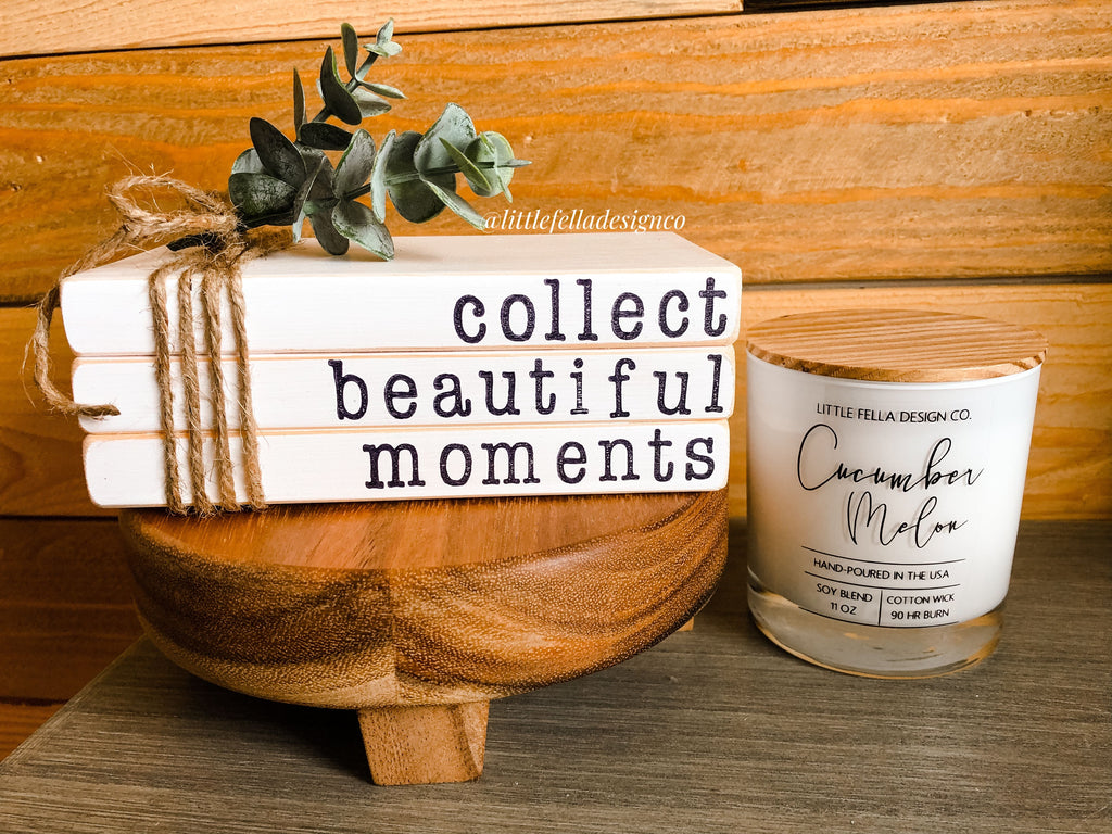 Collect Beautiful Moments Mini Stamped Wood Book Set, Faux Stamped Book Stack