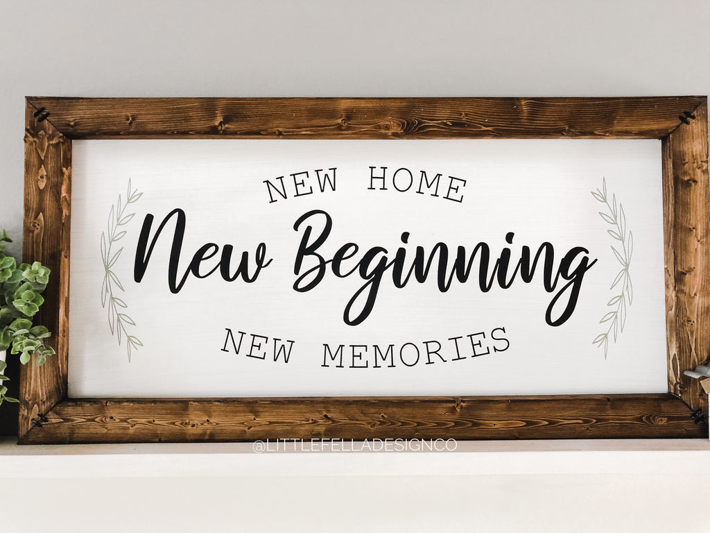 New Home Beginning New Memories Wood Sign, Housewarming Gift, Farmhouse Style Sign