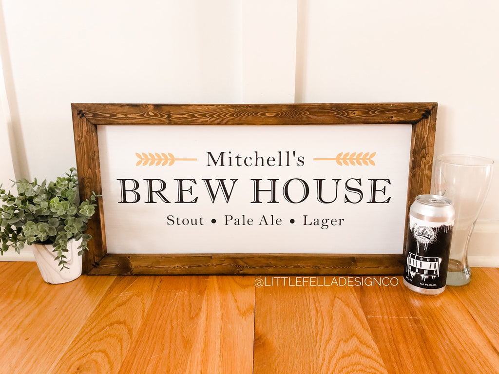 Custom Brew House Wood Sign, Brewery Sign, Home Bar Wood Sign, Housewarming Gift