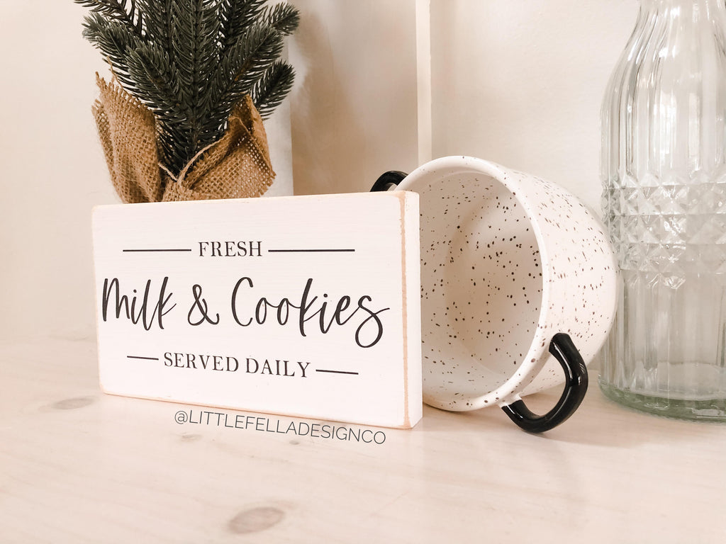 Fresh Milk and Cookies Mini Wood Sign, Tiered Tray Decor, Christmas Decor, Farmhouse Christmas