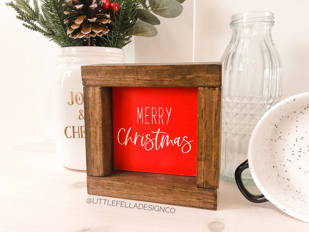 Merry Christmas Mini Wood Framed Sign, Farmhouse Christmas, Christmas Decor