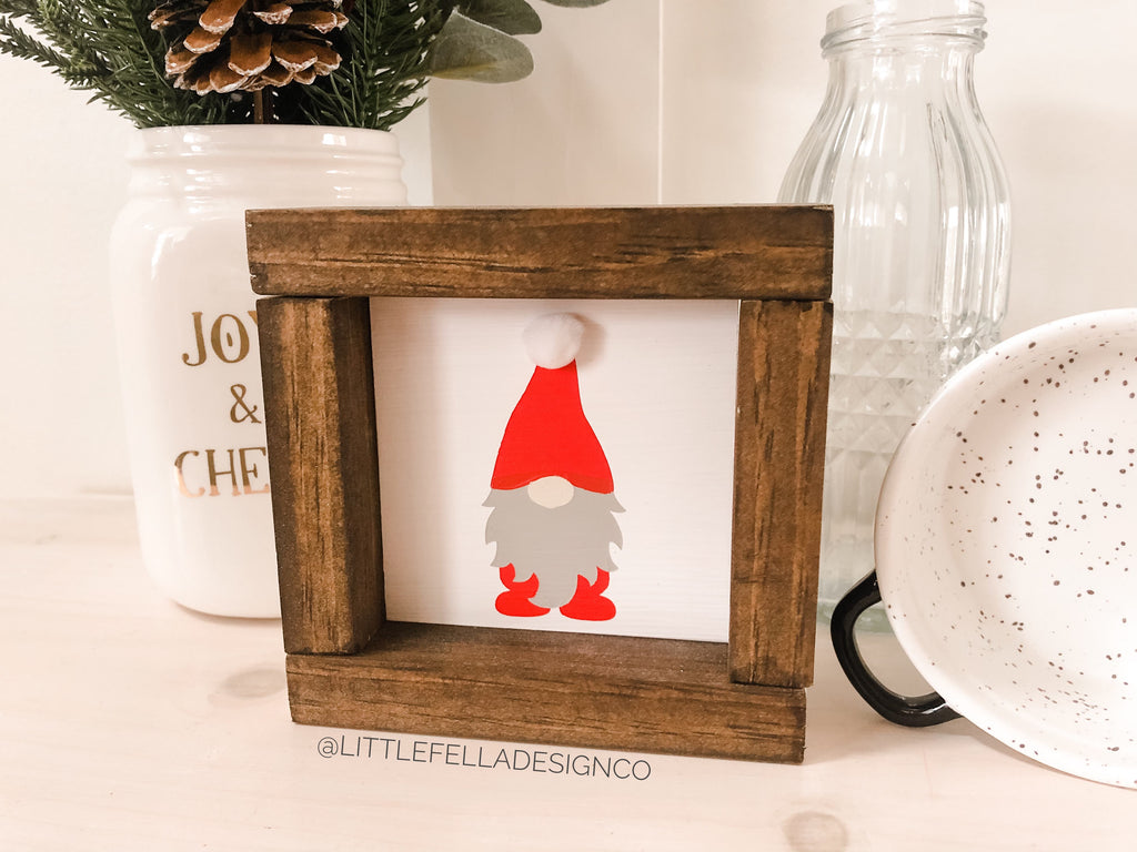 Santa Gnome Mini Wood Framed Sign, Farmhouse Christmas, Christmas Decor