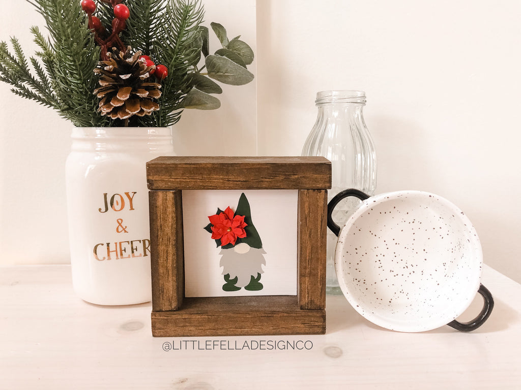 Poinsettia Gnome Mini Wood Framed Sign, Farmhouse Christmas, Christmas Decor