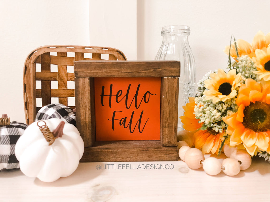 Hello Fall Mini Wood Framed Sign, Fall Tiered Tray, Fall Decor