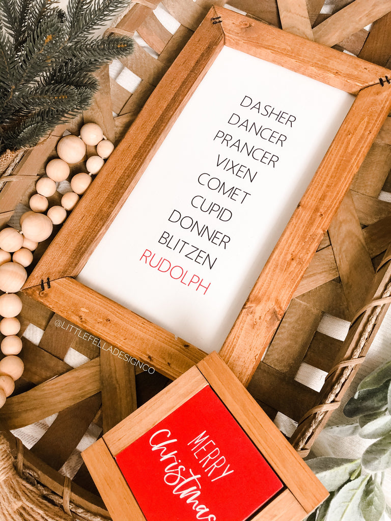 Reindeer Name Sign, Farmhouse Christmas Sign, Christmas Decor