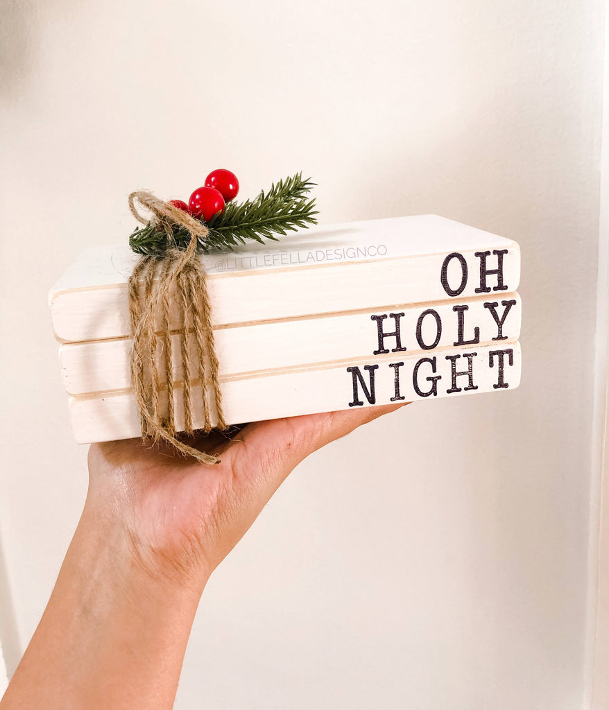 Oh Holy Night Faux Stacked Books, Tiered Tray Wood Stacked Books, Farmhouse Christmas Decor, Tiered Tray Christmas Decor, Merry Christmas
