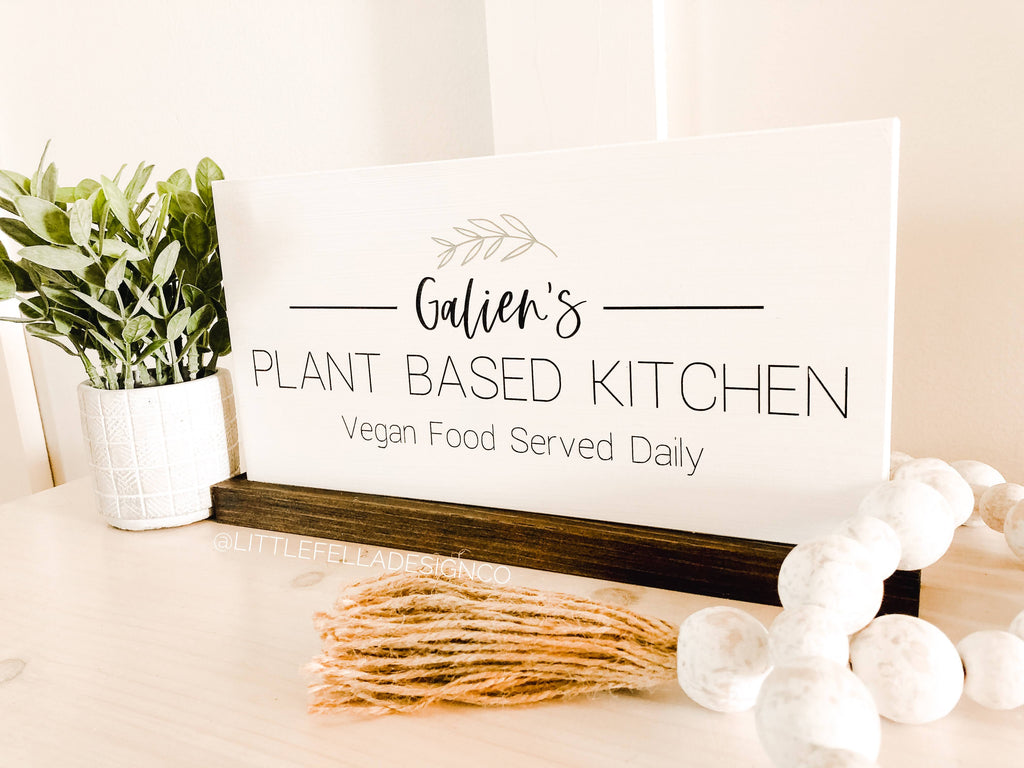 Custom Plant Based Kitchen Wood Sign, Housewarming Gift, Vegan Kitchen Sign