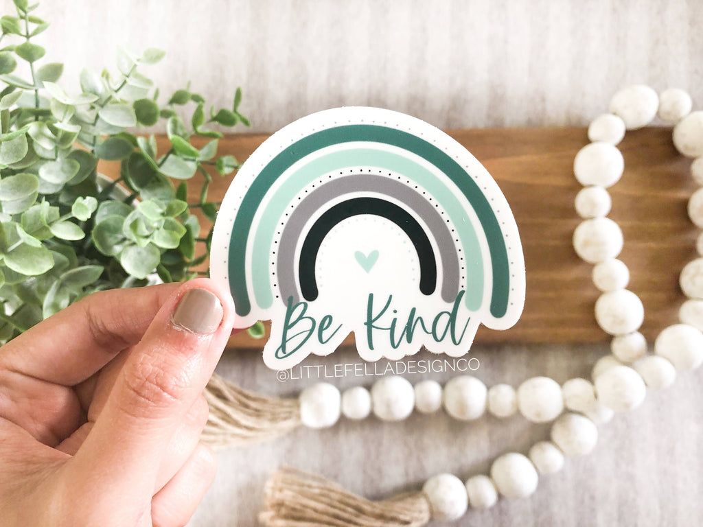 Teal Be Kind Rainbow 3x3in Sticker