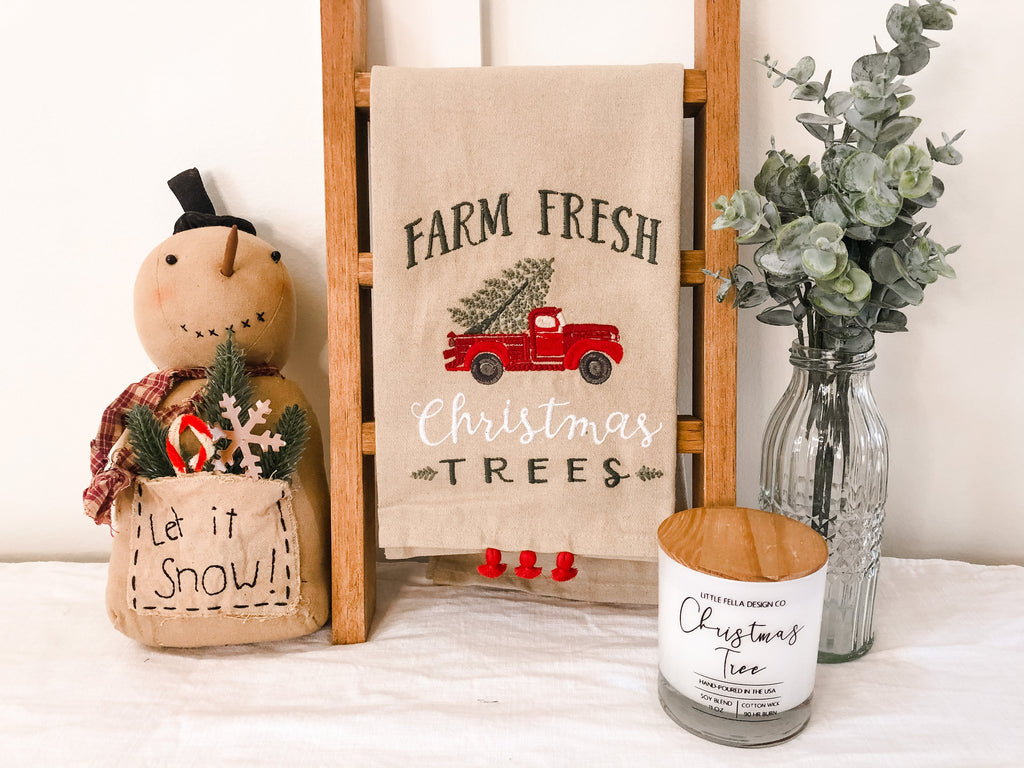 Embroidered Farm Fresh Trees Dish Towel