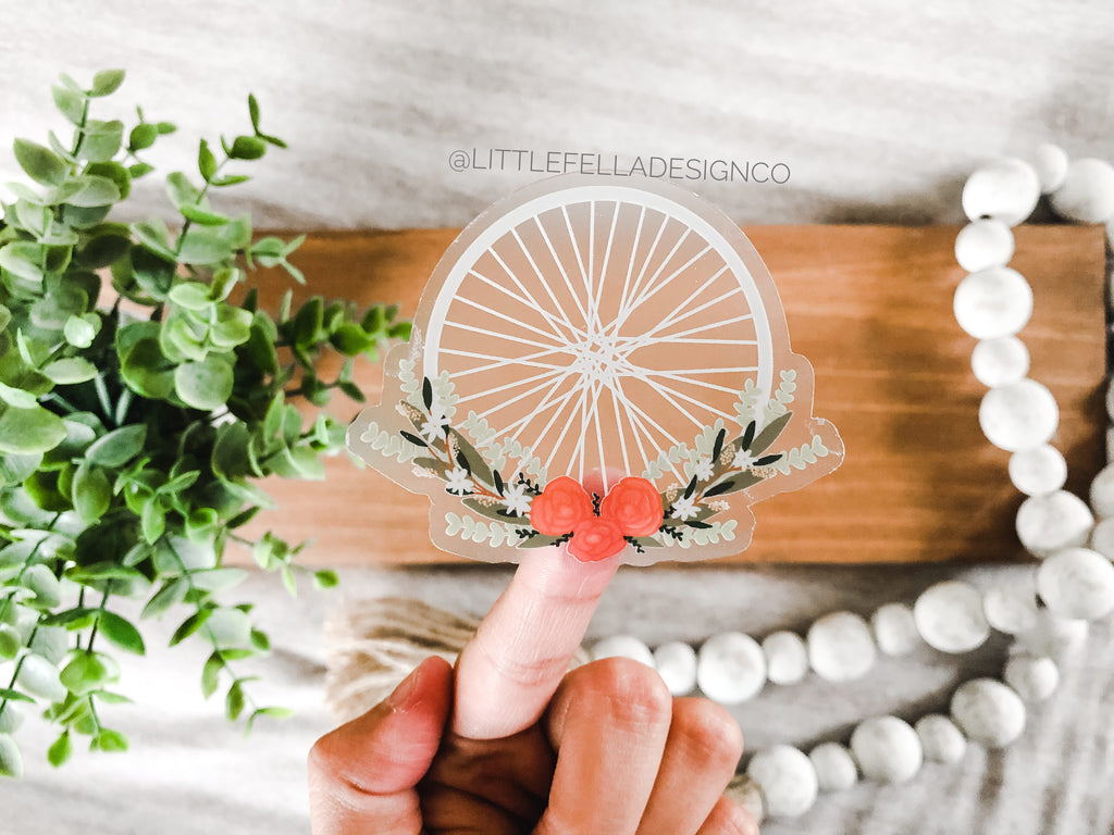Floral Bike Wheel Wreath Clear 3x3in Sticker