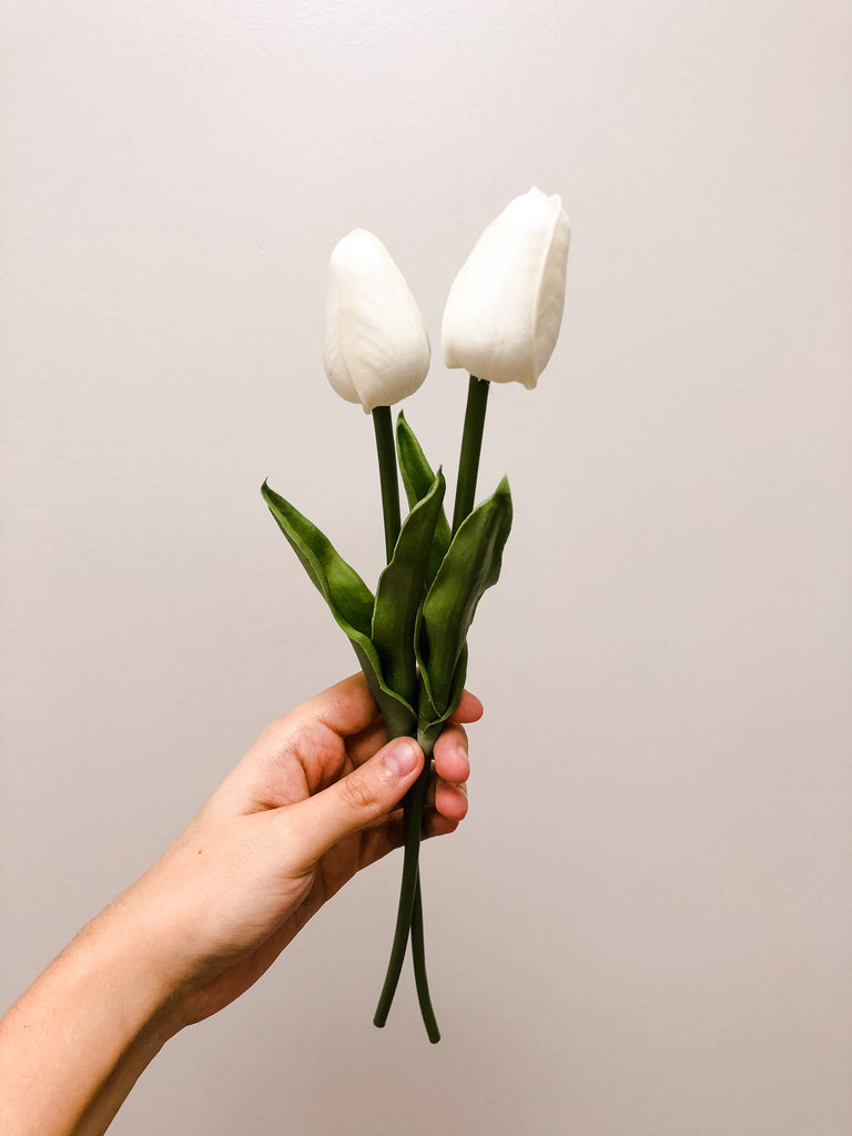 Ivory Tulip Stem Set of 2