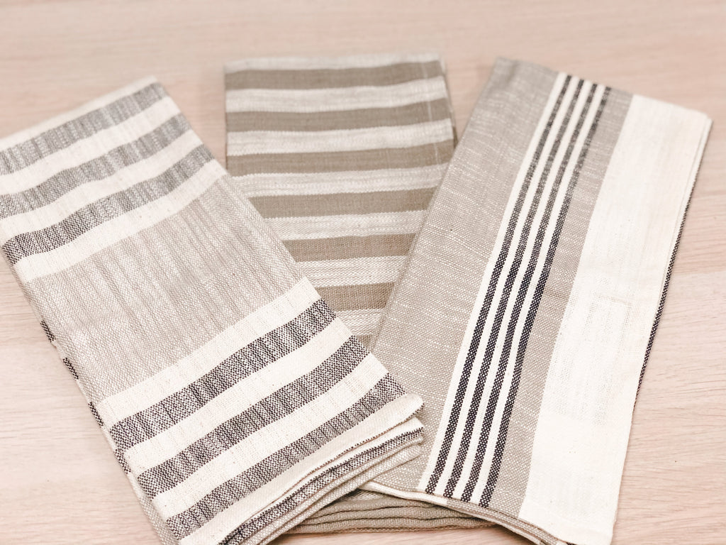 Woven Cotton Striped Tea Towels-Pack of 3